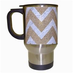 Chevron9 White Marble & Sand Travel Mugs (white)