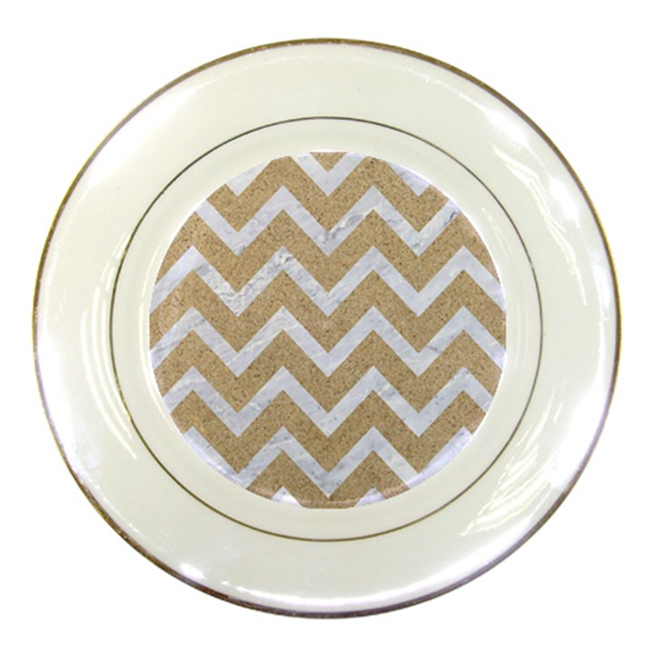 CHEVRON9 WHITE MARBLE & SAND Porcelain Plates