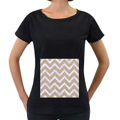 Chevron9 White Marble & Sand Women s Loose Fit T Shirt (black)