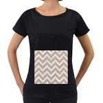 CHEVRON9 WHITE MARBLE & SAND Women s Loose-Fit T-Shirt (Black) Front