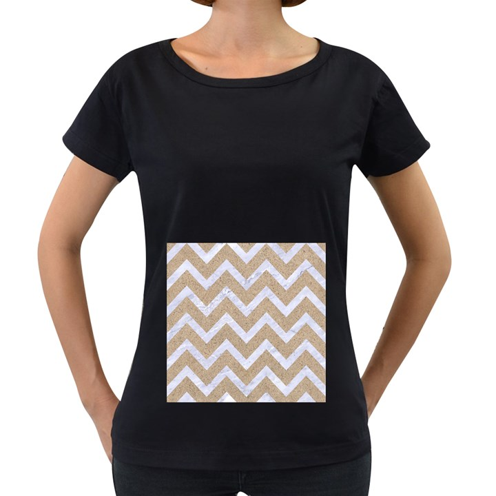 CHEVRON9 WHITE MARBLE & SAND Women s Loose-Fit T-Shirt (Black)