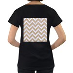 CHEVRON9 WHITE MARBLE & SAND Women s Loose-Fit T-Shirt (Black) Back