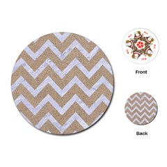 Chevron9 White Marble & Sand Playing Cards (round)