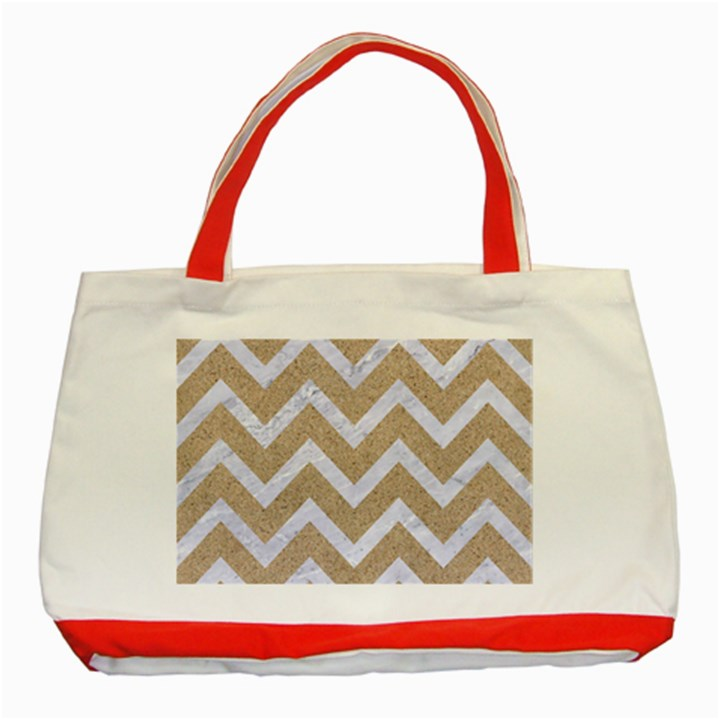 CHEVRON9 WHITE MARBLE & SAND Classic Tote Bag (Red)