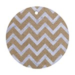 CHEVRON9 WHITE MARBLE & SAND Round Ornament (Two Sides) Back