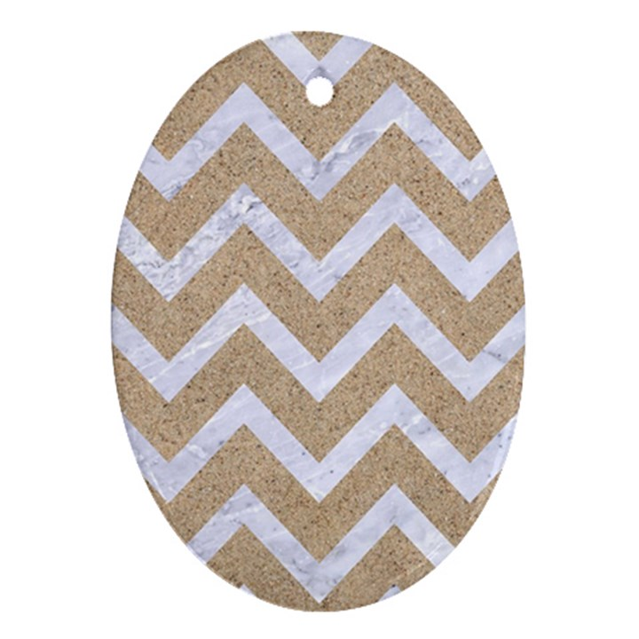 CHEVRON9 WHITE MARBLE & SAND Oval Ornament (Two Sides)