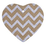 CHEVRON9 WHITE MARBLE & SAND Heart Ornament (Two Sides) Front