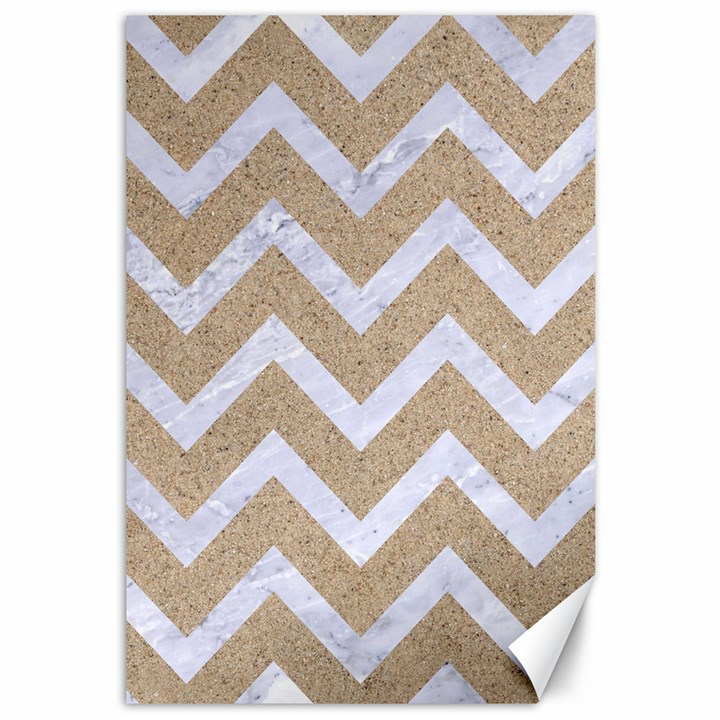 CHEVRON9 WHITE MARBLE & SAND Canvas 12  x 18