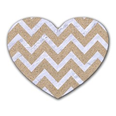 Chevron9 White Marble & Sand Heart Mousepads