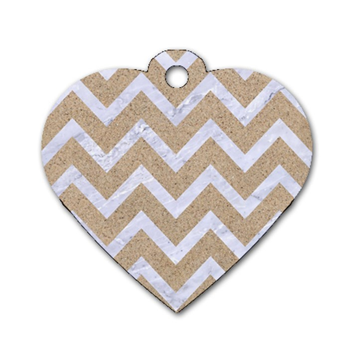 CHEVRON9 WHITE MARBLE & SAND Dog Tag Heart (One Side)