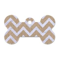 Chevron9 White Marble & Sand Dog Tag Bone (two Sides)