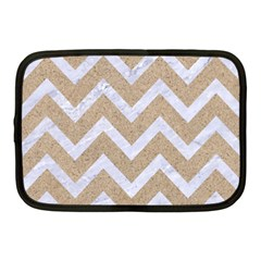 Chevron9 White Marble & Sand Netbook Case (medium)
