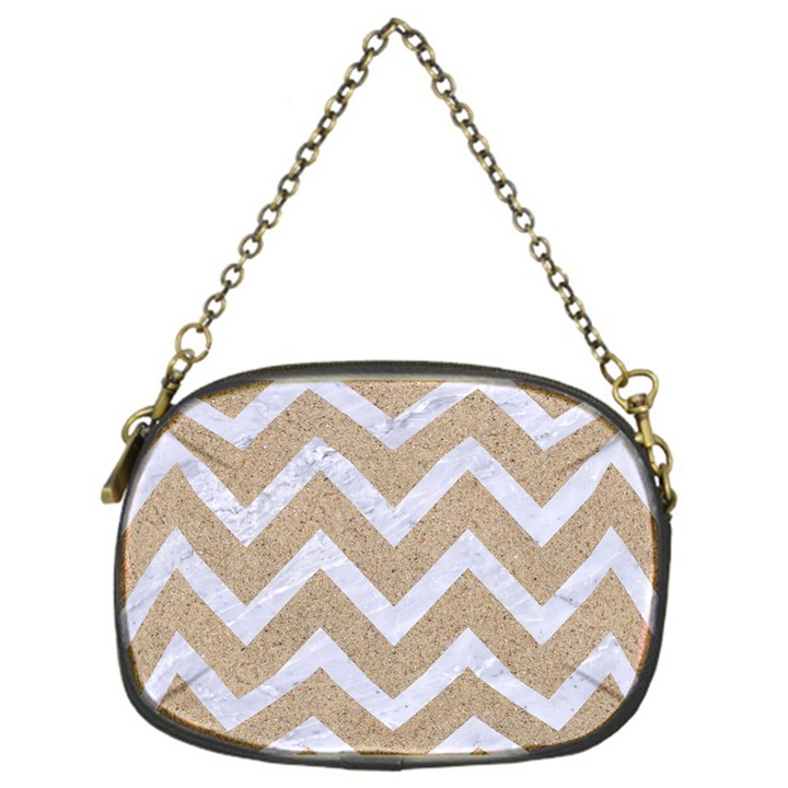 CHEVRON9 WHITE MARBLE & SAND Chain Purses (One Side)