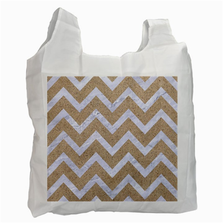 CHEVRON9 WHITE MARBLE & SAND Recycle Bag (Two Side)