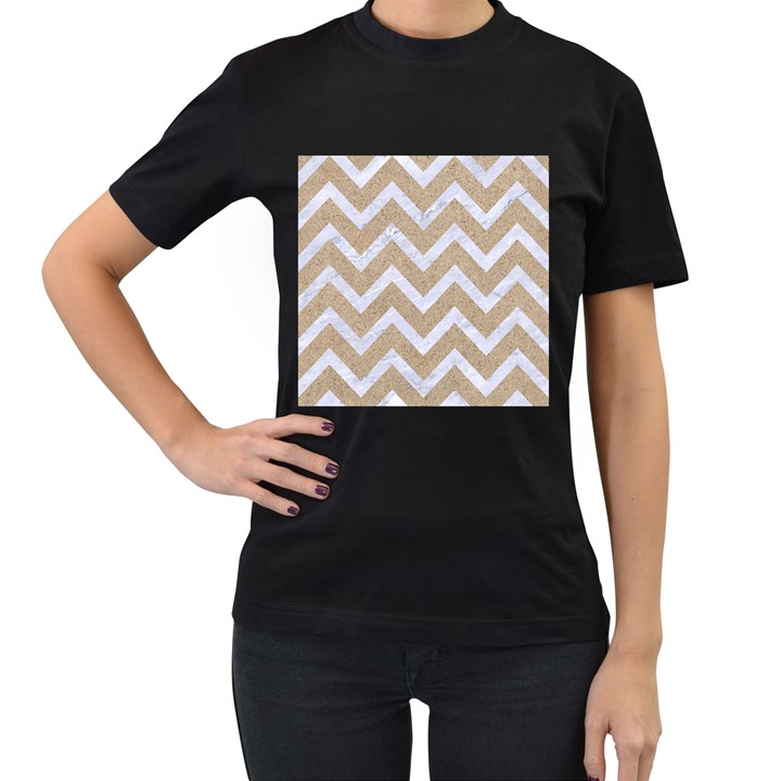 CHEVRON9 WHITE MARBLE & SAND Women s T-Shirt (Black)