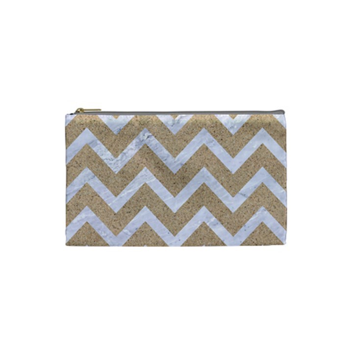 CHEVRON9 WHITE MARBLE & SAND Cosmetic Bag (Small)