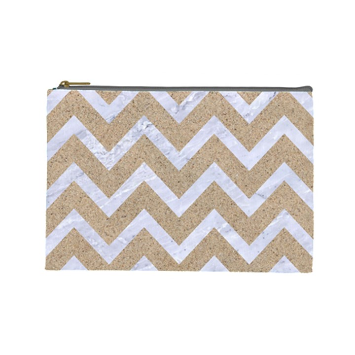 CHEVRON9 WHITE MARBLE & SAND Cosmetic Bag (Large)