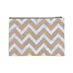 CHEVRON9 WHITE MARBLE & SAND Cosmetic Bag (Large)  Back