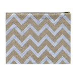 CHEVRON9 WHITE MARBLE & SAND Cosmetic Bag (XL) Back