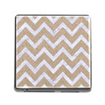 CHEVRON9 WHITE MARBLE & SAND Memory Card Reader (Square) Front