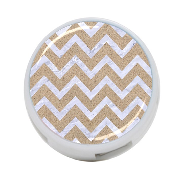CHEVRON9 WHITE MARBLE & SAND 4-Port USB Hub (Two Sides)