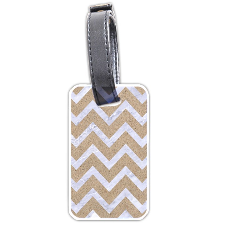 CHEVRON9 WHITE MARBLE & SAND Luggage Tags (One Side)