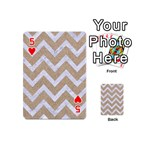 CHEVRON9 WHITE MARBLE & SAND Playing Cards 54 (Mini)  Front - Heart5