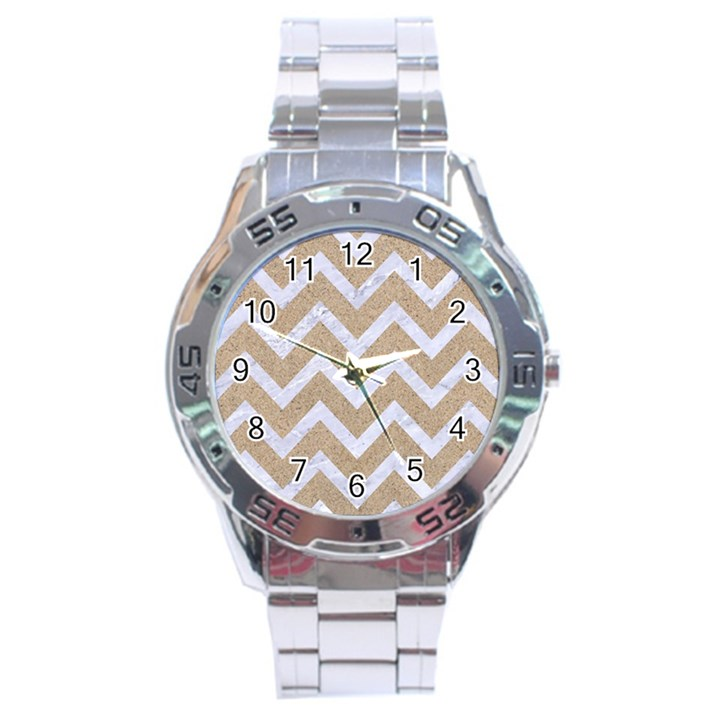 CHEVRON9 WHITE MARBLE & SAND Stainless Steel Analogue Watch