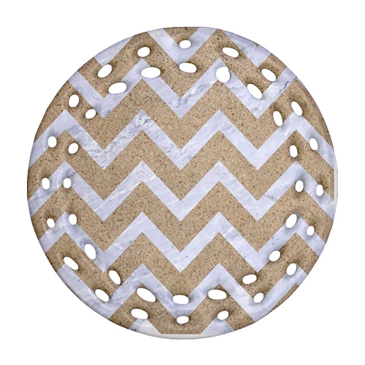 CHEVRON9 WHITE MARBLE & SAND Round Filigree Ornament (Two Sides)