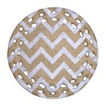 CHEVRON9 WHITE MARBLE & SAND Round Filigree Ornament (Two Sides) Back