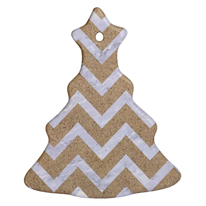 CHEVRON9 WHITE MARBLE & SAND Christmas Tree Ornament (Two Sides)