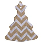 CHEVRON9 WHITE MARBLE & SAND Christmas Tree Ornament (Two Sides) Back