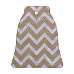 CHEVRON9 WHITE MARBLE & SAND Bell Ornament (Two Sides) Back