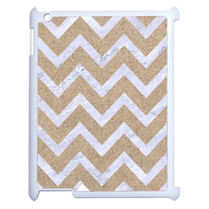 CHEVRON9 WHITE MARBLE & SAND Apple iPad 2 Case (White)