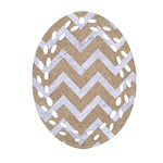 CHEVRON9 WHITE MARBLE & SAND Oval Filigree Ornament (Two Sides) Back