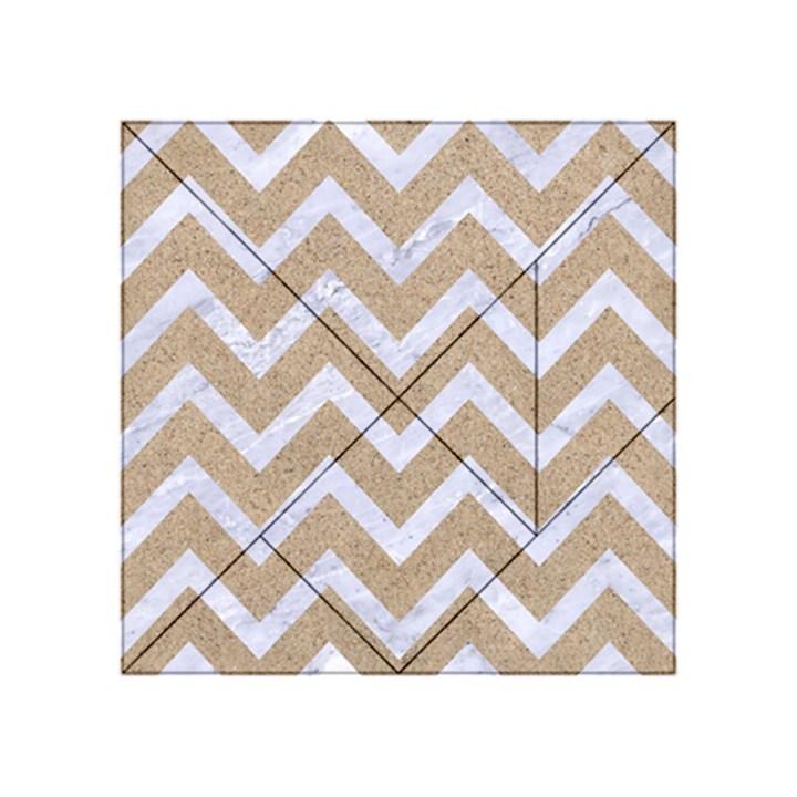 CHEVRON9 WHITE MARBLE & SAND Acrylic Tangram Puzzle (4  x 4 )