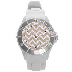 Chevron9 White Marble & Sand Round Plastic Sport Watch (l)
