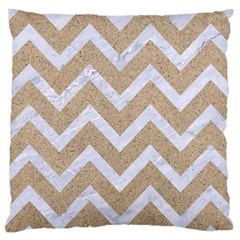 Chevron9 White Marble & Sand Large Cushion Case (one Side)