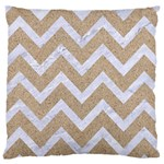 CHEVRON9 WHITE MARBLE & SAND Large Cushion Case (One Side) Front