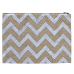 CHEVRON9 WHITE MARBLE & SAND Cosmetic Bag (XXL)  Back