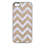 CHEVRON9 WHITE MARBLE & SAND Apple iPhone 5 Case (Silver) Front