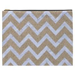Chevron9 White Marble & Sand Cosmetic Bag (xxxl)