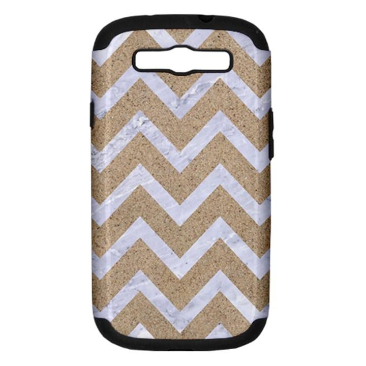 CHEVRON9 WHITE MARBLE & SAND Samsung Galaxy S III Hardshell Case (PC+Silicone)