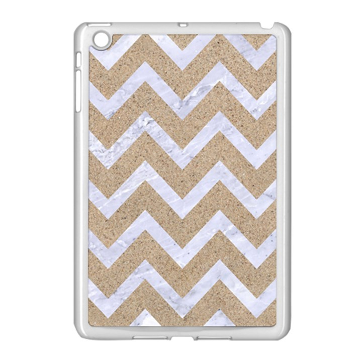 CHEVRON9 WHITE MARBLE & SAND Apple iPad Mini Case (White)