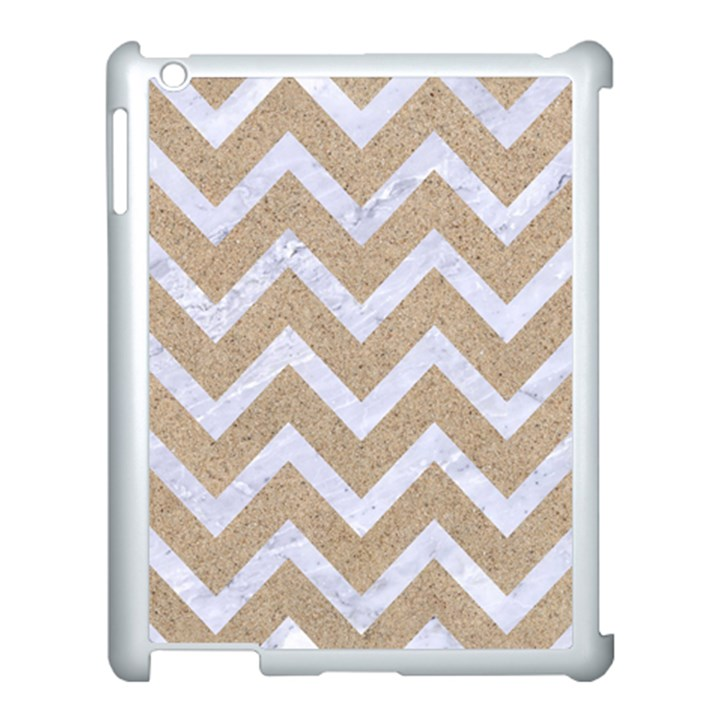 CHEVRON9 WHITE MARBLE & SAND Apple iPad 3/4 Case (White)