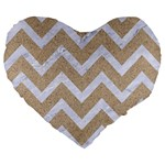 CHEVRON9 WHITE MARBLE & SAND Large 19  Premium Heart Shape Cushions Front