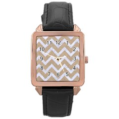 Chevron9 White Marble & Sand Rose Gold Leather Watch