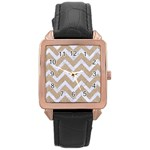 CHEVRON9 WHITE MARBLE & SAND Rose Gold Leather Watch  Front