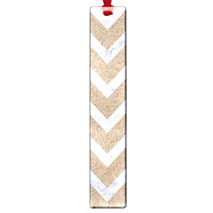 Chevron9 White Marble & Sand Large Book Marks