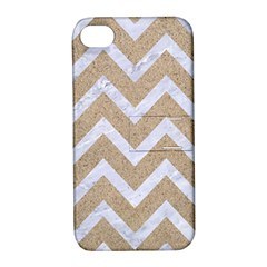 Chevron9 White Marble & Sand Apple Iphone 4/4s Hardshell Case With Stand